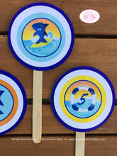 Load image into Gallery viewer, Surfer Shark Party Cupcake Toppers Birthday Ocean Swimming Pool Boy 1st 2nd 3rd 4th 5th 6th 7th 8th 9th Boogie Bear Invitations Xander Theme
