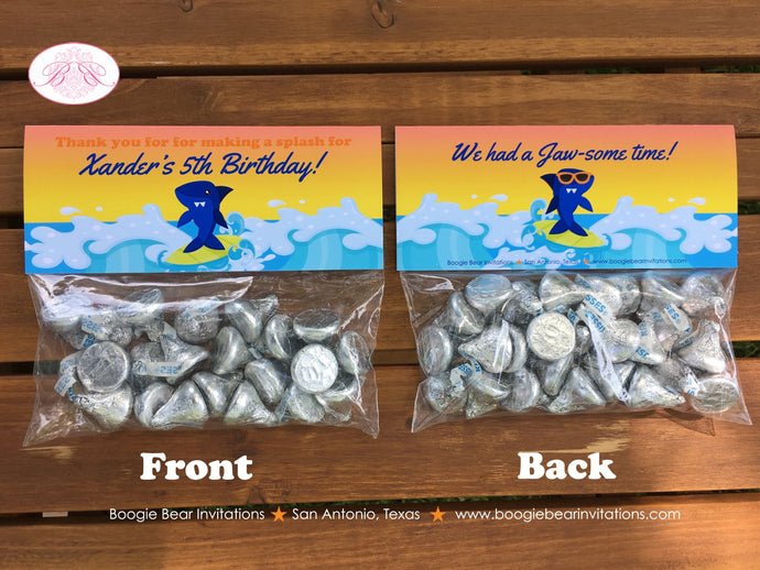 Surfer Shark Birthday Party Treat Bag Toppers Folded Favor Swimming 1st 2nd 3rd 4th 5th 6th 7th 8th 9th Boogie Bear Invitations Xander Theme