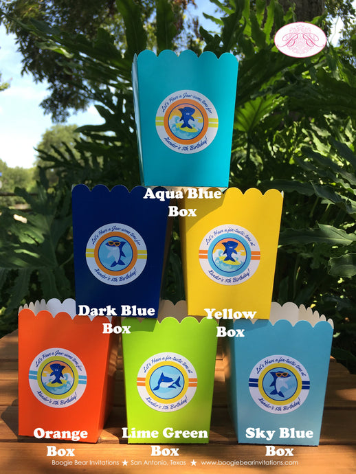 Surfer Shark Party Popcorn Boxes Mini Favor Buffet Food Birthday Boy 1st 2nd 3rd 4th 5th 6th 7th 8th Boogie Bear Invitations Xander Theme