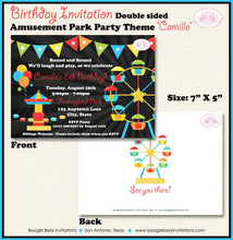 Load image into Gallery viewer, Amusement Park Birthday Party Invitation Boy Girl 1st 2nd 3rd 4th 5th 6th Boogie Bear Invitations Camillo Theme Paperless Printable Printed