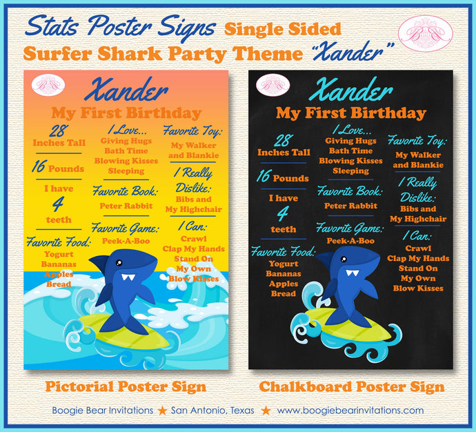 Surfer Shark Birthday Party Sign Stats Poster Frameable Chalkboard Milestone Pool Swimming Boy Girl 1st Boogie Bear Invitations Xander Theme