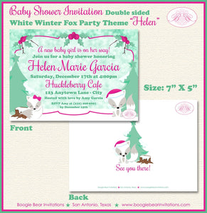Woodland Holiday Fox Baby Shower Invitation Winter Christmas Snow Pink Girl Boogie Bear Invitations Helen Theme Paperless Printable Printed