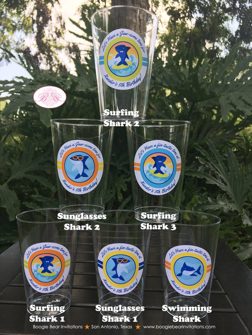 Surfer Shark Birthday Party Beverage Cups Plastic Drink Boy Girl Pool 1st 2nd 3rd 4th 5th 6th 7th 8th Boogie Bear Invitations Xander Theme
