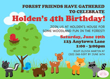 Load image into Gallery viewer, Woodland Animals Birthday Party Invitation Fox Boy Girl 1st 2nd 3rd 4th 5th Boogie Bear Invitations Holden Theme Paperless Printable Printed