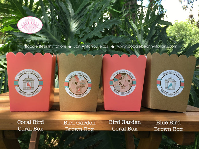 Garden Birds Popcorn Boxes Mini Food Buffet Birthday Party Girl Birdcage Coral Teal 1st 12th 21st 30th Boogie Bear Invitations Coralee Theme