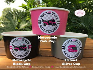 Motorcycle Birthday Party Treat Cups Candy Buffet Paper Pink Black Racing Girl 1st 2nd 3rd 4th 5th 6th Boogie Bear Invitations Lindsey Theme