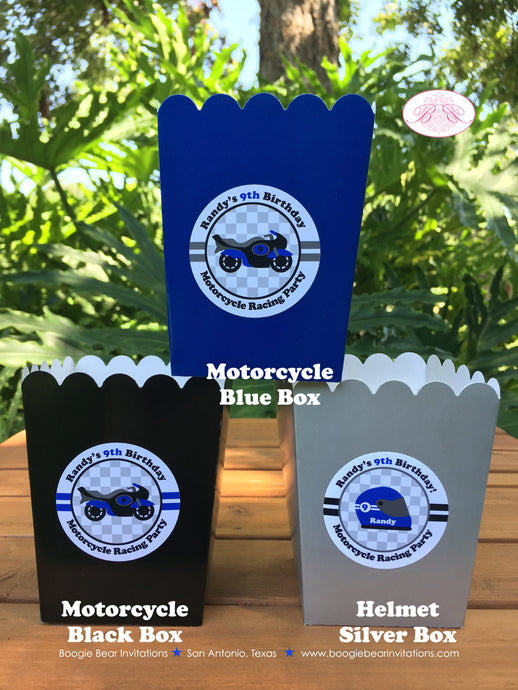 Blue Motorcycle Party Popcorn Boxes Mini Food Buffet Birthday Boy 1st 2nd 3rd 4th 5th 6th 7th 8th 9th Boogie Bear Invitations Randy Theme