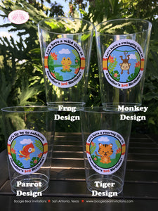 Rain Forest Birthday Party Beverage Cups Plastic Drink Girl Boy Rainforest Animals 1st 2nd 3rd 4th Boogie Bear Invitations Chandler Theme