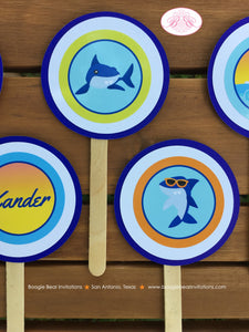 Surfer Shark Party Cupcake Toppers Birthday Ocean Swimming Pool Boy 1st 2nd 3rd 4th 5th 6th 7th 8th 9th Boogie Bear Invitations Xander Theme