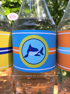 Surfer Shark Birthday Party Bottle Wraps Wrapper Cover Label Boy Girl 1st 2nd 3rd 4th 5th 6th 7th 8th Boogie Bear Invitations Xander Theme