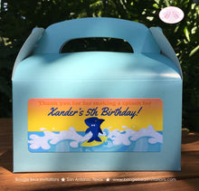 Load image into Gallery viewer, Surfer Shark Birthday Party Treat Boxes Favor Ocean Swimming Boy Girl 1st 2nd 3rd 4th 5th 6th 7th 8th Boogie Bear Invitations Xander Theme