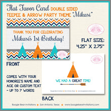 Load image into Gallery viewer, Teepee Birthday Favor Party Card Tent Place Food Tag Boy Girl Chevron Teal Aqua Turquoise 1st 2nd 3rd Boogie Bear Invitations Mikasi Theme