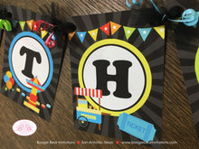 Load image into Gallery viewer, Amusement Park Happy Birthday Banner Boy Girl Red Yellow Green Blue Black 1st 2nd 3rd 4th 5th 6th 7th Boogie Bear Invitations Camillo Theme
