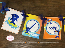 Load image into Gallery viewer, Surfer Shark Highchair I am 1 Banner Birthday Party Ocean Swimming Beach Orange Blue Boy Girl 1st 2nd Boogie Bear Invitations Xander Theme
