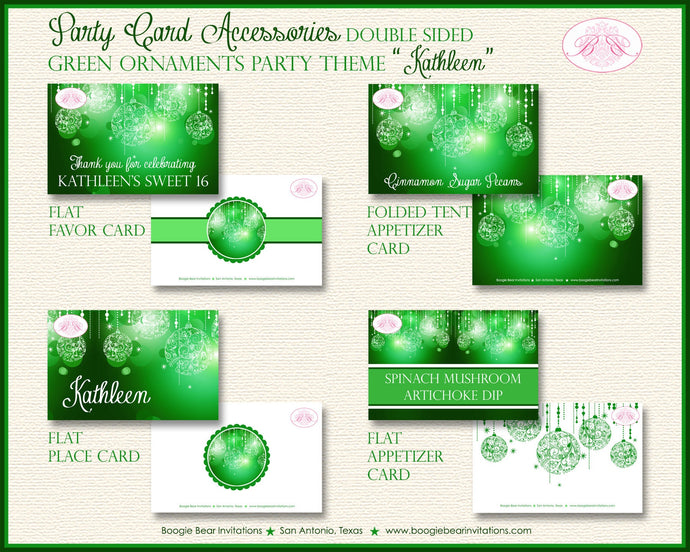 Green Glowing Ornament Birthday Party Favor Card Place Food Appetizer Girl Sweet 16 1st 2nd 21st 30th Boogie Bear Invitations Kathleen Theme
