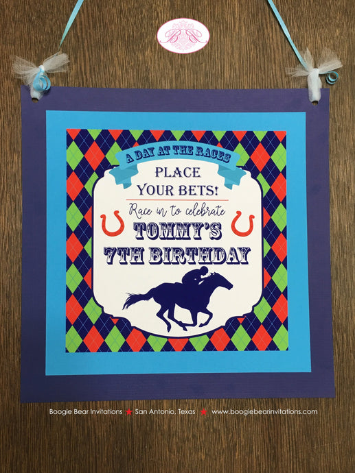 Horse Racing Birthday Party Door Banner Derby Argyle Boy Girl 1st 2nd 3rd 4th 5th 6th 7th 8th 9th 10th Boogie Bear Invitations Tommy Theme