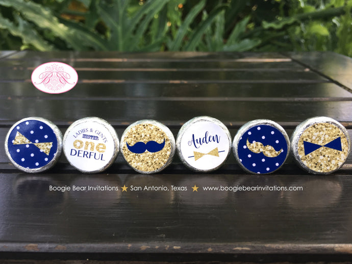 Mr Wonderful 1st Birthday Circle Stickers Candy Party Favor Mustache Bow Tie Boy Onederful Blue Gold Boogie Bear Invitations Auden Theme