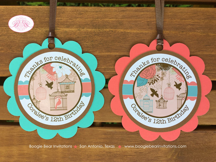 Garden Birds Birthday Favor Tags Party Girl Woodland Birdcage Flower Coral Teal 1st 2nd 12th 16th 21st Boogie Bear Invitations Coralee Theme