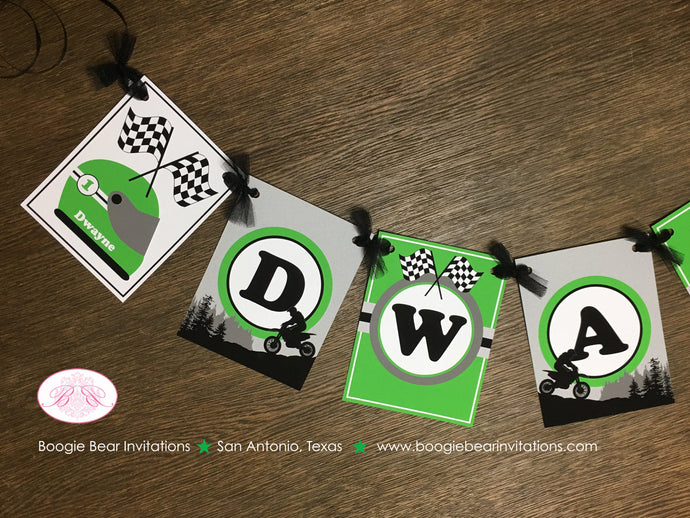 Dirt Bike Birthday Party Name Banner Green Black Grey Boy Girl 1st 2nd 3rd 4th 5th 6th 7th 8th 9th 10th Boogie Bear Invitations Dwayne Theme