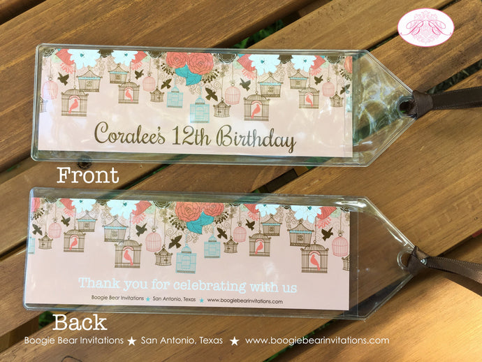 Garden Birds Birthday Party Bookmarks Favor Thank You Girl Coral Teal Birdcage 1st 2nd 16th 12th 21st Boogie Bear Invitations Coralee Theme