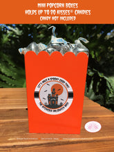 Load image into Gallery viewer, Halloween Party Popcorn Boxes Mini Favor Food Buffet Appetizer Haunted House Orange Black Full Moon Boogie Bear Invitations Hitchcock Theme