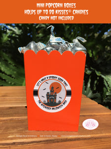 Halloween Party Popcorn Boxes Mini Favor Food Buffet Appetizer Haunted House Orange Black Full Moon Boogie Bear Invitations Hitchcock Theme