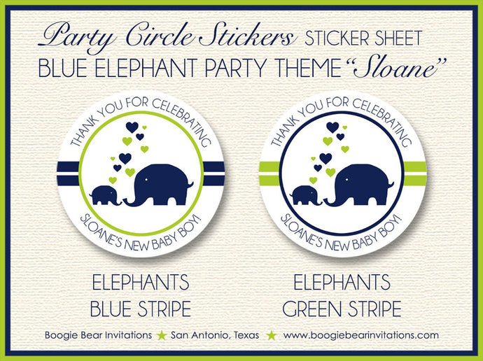 Blue Elephant Baby Shower Party Stickers Circle Sheet Round Circle Boy Girl Navy Lime Green Heart 1st Boogie Bear Invitations Sloane Theme