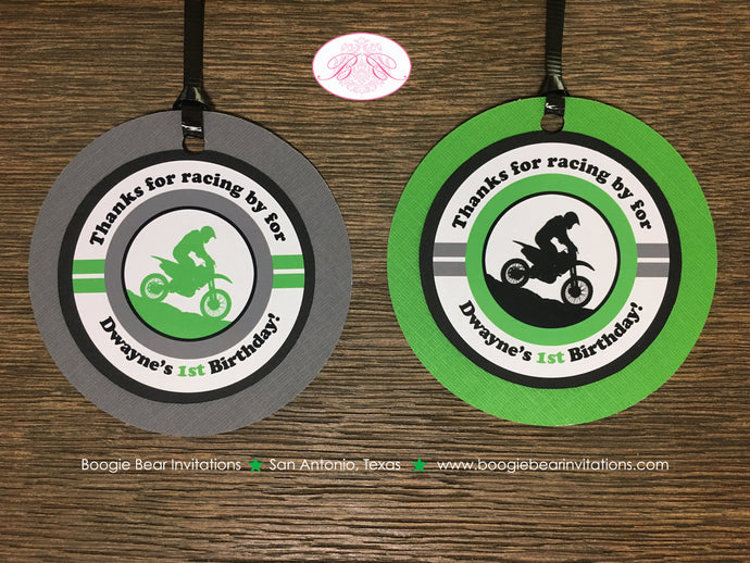 Green Dirt Bike Birthday Party Favor Tags Black Grey Boy Girl 1st 2nd 3rd 4th 5th 6th 7th 8th 9th 10th Boogie Bear Invitations Dwayne Theme