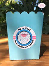 Load image into Gallery viewer, BBQ Reveal Party Popcorn Boxes Mini Favor Food Buffet Appetizer Baby Shower Pink Blue Boy Girl 1st 2nd Boogie Bear Invitations Shannon Theme
