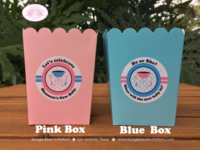 BBQ Reveal Party Popcorn Boxes Mini Favor Food Buffet Appetizer Baby Shower Pink Blue Boy Girl 1st 2nd Boogie Bear Invitations Shannon Theme