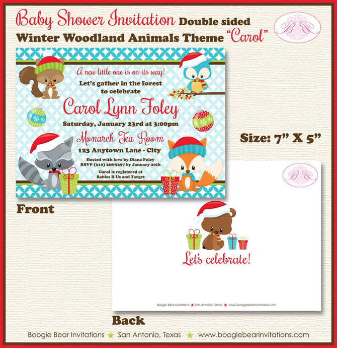 Woodland Animals Baby Shower Invitation Christmas Fox Owl Birthday Party 1st Boogie Bear Invitations Carol Theme Paperless Printable Printed