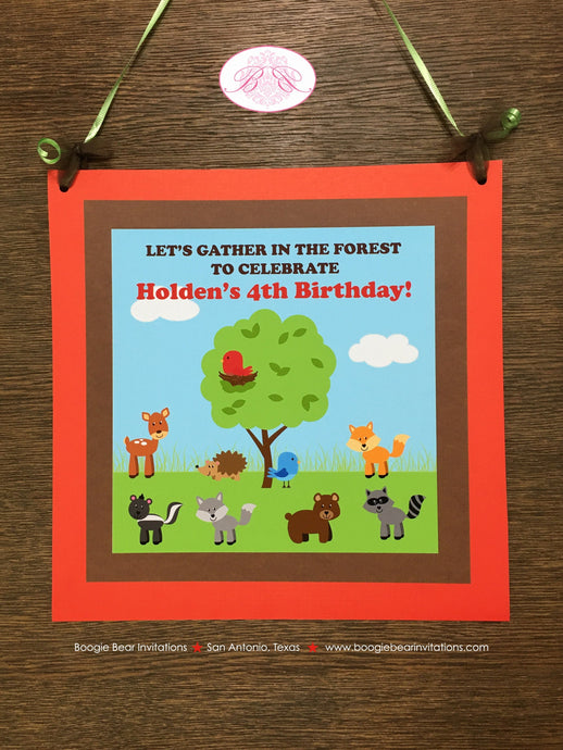 Woodland Animals Birthday Party Door Banner Deer Bird Green Tree Wild Boy Girl 1st 2nd 3rd 4th 5th 6th Boogie Bear Invitations Holden Theme