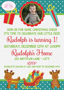 Christmas Reindeer Birthday Party Invitation Photo Girl Boy 1st 2nd 3rd Boogie Bear Invitations Rudolph Theme Paperless Printable Printed