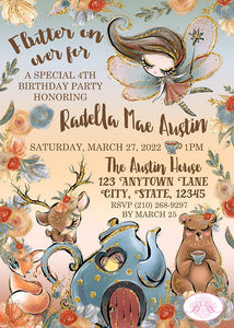 Fall Fairy Pumpkin Birthday Party Invitation Woodland Magic Tea 1st 2nd 3rd 4th 5th 6th 7th Boogie Bear Invitations Printed Radella Theme