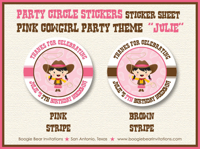 Pink Cowgirl Birthday Party Stickers Circle Sheet Round Circle Girl Up Brown 1st 2nd 3rd 4th 5th 6th 7th Boogie Bear Invitations Julie Theme