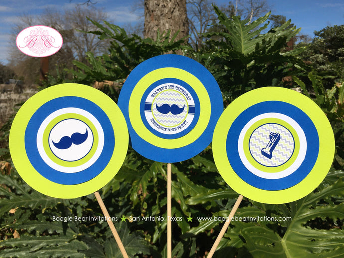 Mustache Bash Birthday Party Centerpiece Sticks Boy Navy Blue Lime Green Little Man Chevron Circle 1st Boogie Bear Invitations Walter Theme