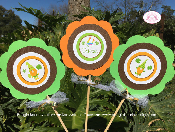 St. Patricks Day Gnomes Centerpiece Set Birthday Party Boy Girl Lucky Green Orange 1st 2nd 3rd 4th 5th Boogie Bear Invitations Tristan Theme