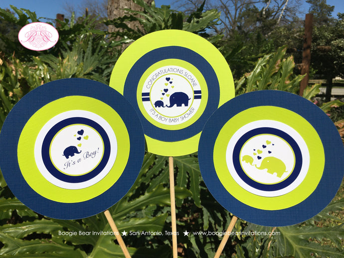 Blue Elephant Baby Shower Centerpiece Sticks Party Boy Navy Lime Green Chevron Wild Zoo Animals Love Boogie Bear Invitations Sloane Theme