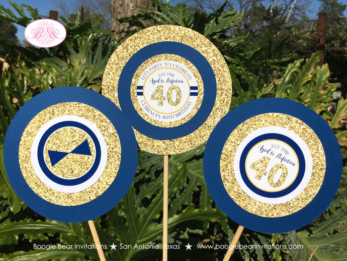 Blue Gold Glitter Birthday Party Centerpiece Set Aged to Perfection Navy 40th 50th 60th 70th 80th 1st Boogie Bear Invitations Clarence Theme