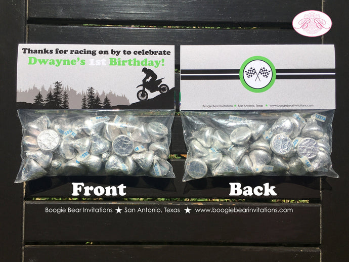 Green Dirt Bike Party Treat Bag Toppers Birthday Folded Favor 1st 2nd 3rd 4th 5th 6th 7th 8th 9th 16th Boogie Bear Invitations Dwayne Theme