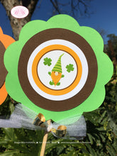 Load image into Gallery viewer, St. Patricks Day Gnomes Centerpiece Set Birthday Party Boy Girl Lucky Green Orange 1st 2nd 3rd 4th 5th Boogie Bear Invitations Tristan Theme
