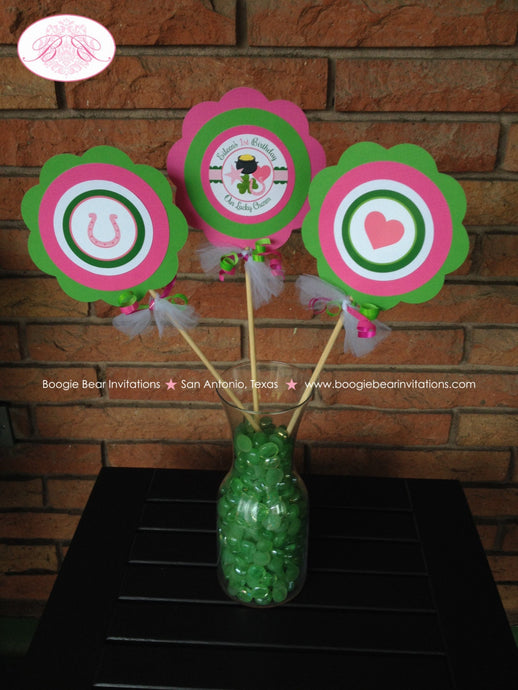 Lucky Charm Birthday Party Centerpiece Set Pink St. Patrick's Day Green Shamrock Clover Display 1st Boogie Bear Invitations Eileen Theme