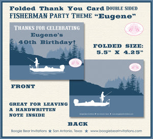 Fishing Boat Birthday Thank You Card Party Blue Lake Boy 1st 21st 30th 40th 50th 60th 70th 80th Boogie Bear Invitations Eugene Theme Printed