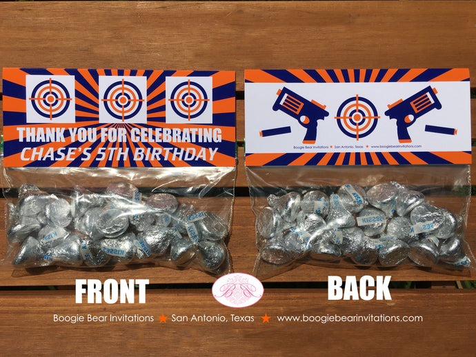 Toy Dart Gun Birthday Party Treat Bag Toppers Folded Favor Orange Blue Boy Girl 4th 5th 6th 7th 8th 9th Boogie Bear Invitations Chase Theme
