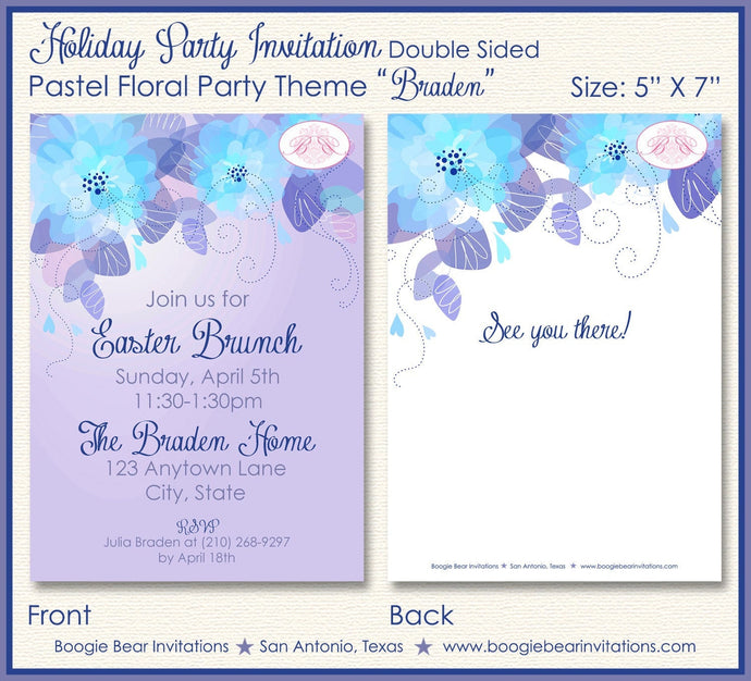 Easter Brunch Dinner Party Invitation Purple Blue Flower Ladies 1st Boogie Bear Invitations Braden Theme Paperless Printable Printed