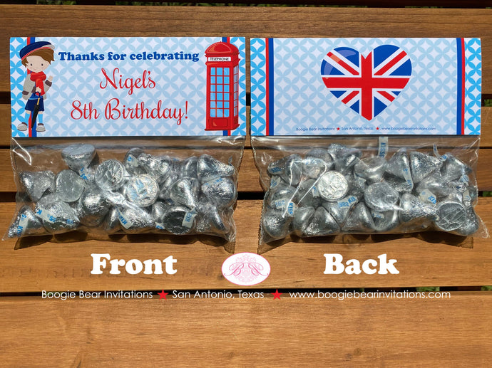 London England Birthday Party Treat Bag Toppers Folded Favor Boy 1st 2nd 3rd 4th 5th 6th 7th 8th Boogie Bear Invitations Nigel Theme