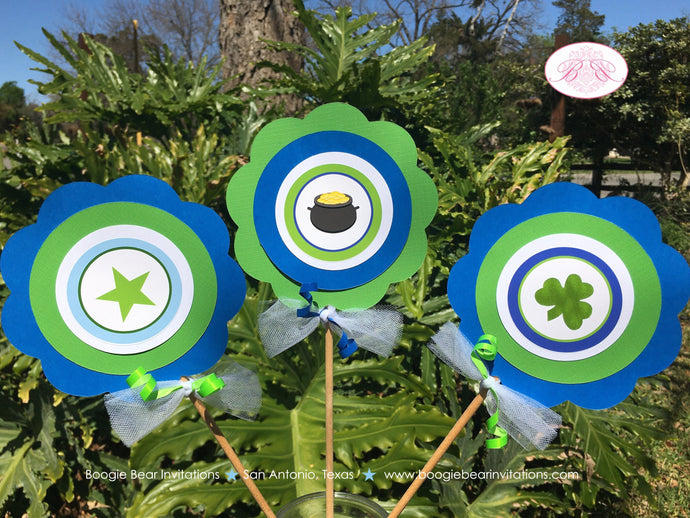 Blue Lucky Charm Party Centerpiece Sticks Lucky Green Shamrock Clover Boy 1st 2nd 3rd 4th 5th 6th 7th Boogie Bear Invitations Desmond Theme