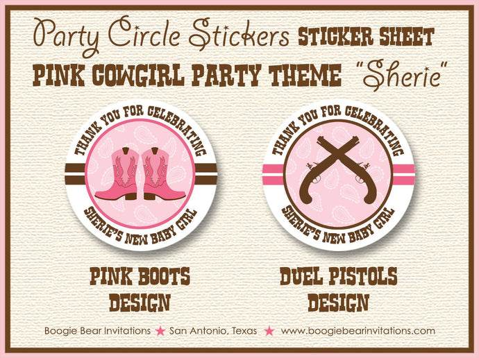 Pink Cowgirl Baby Shower Party Stickers Circle Sheet Round Girl Birthday Brown Boots Guns Pistol 1st Boogie Bear Invitations Sherie Theme