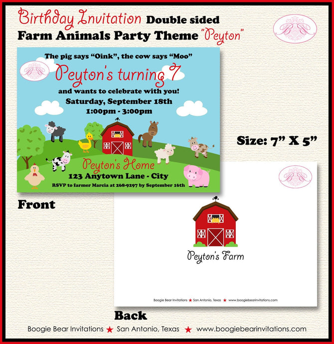 Farm Animals Birthday Party Invitation Barn Boy Girl 1st 2nd 3rd 4th 7th Boogie Bear Invitations Peyton Theme Paperless Printable Printed