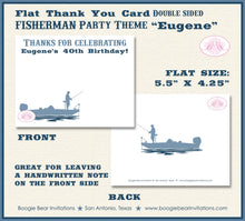 Load image into Gallery viewer, Fishing Boat Birthday Thank You Card Party Blue Lake Boy 1st 21st 30th 40th 50th 60th 70th 80th Boogie Bear Invitations Eugene Theme Printed